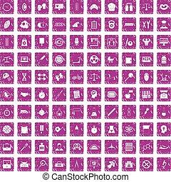 100 libra icons set grunge pink