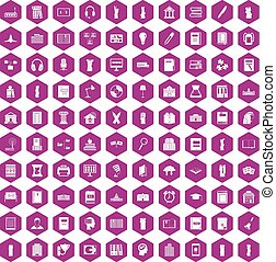 100 library icons hexagon violet