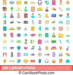 100 library icons set, cartoon style