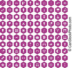 100 light icons hexagon violet