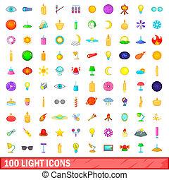 100 light icons set, cartoon style