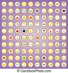 100 light icons set in cartoon style on purple background...
