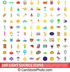 100 light source icons set, cartoon style - 100 light source...