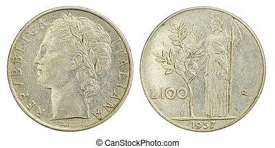 100, lire, mynt, av, italien, av, 1957