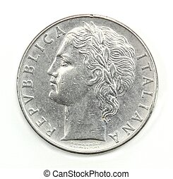100, lire, mynt, av, italien, av, 1975