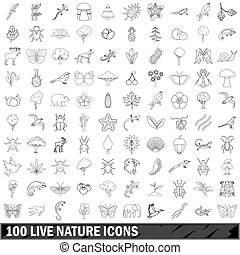 100 live nature icons set, outline style - 100 live nature...
