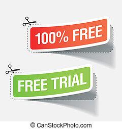 100%, livre, e, livre, julgamento, etiquetas