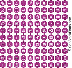 100 loader icons hexagon violet