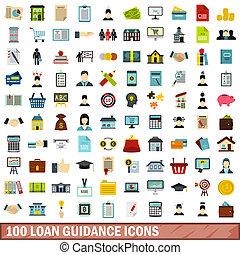 100 loan guidance icons set, flat style