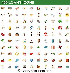 100 loans icons set, cartoon style