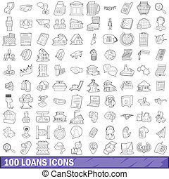 100 loans icons set, outline style