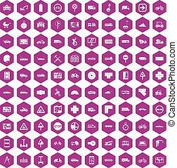 100 location icons hexagon violet