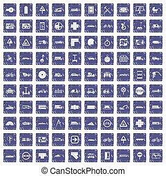 100 location icons set grunge sapphire
