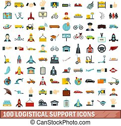 100 logistical support icons set in flat style for any design vector illustration