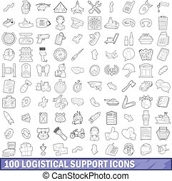 100 logistical support icons set in outline style for any design vector illustration