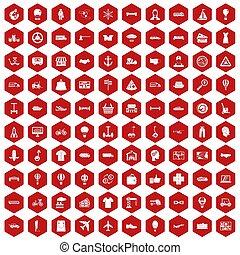 100 logistics icons hexagon red