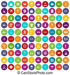 100 logistics icons set color