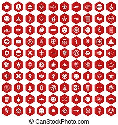 100 logotype icons hexagon red