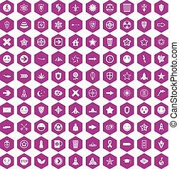 100 logotype icons hexagon violet