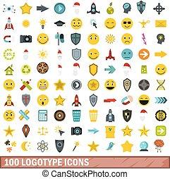 100 logotype icons set, flat style