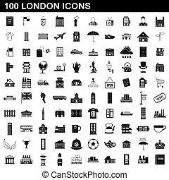 100, londres, style, ensemble, icônes simples
