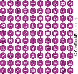 100 lorry icons hexagon violet