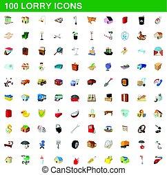 100 lorry icons set, cartoon style