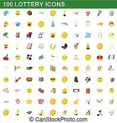 100 lottery icons set, cartoon style