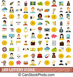 100 lottery icons set, flat style