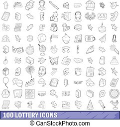 100 lottery icons set, outline style