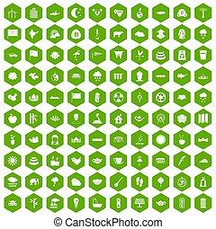 100 lotus icons hexagon green