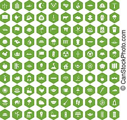 100 lotus icons hexagon green - 100 lotus icons set in green...