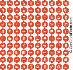 100 lotus icons hexagon orange