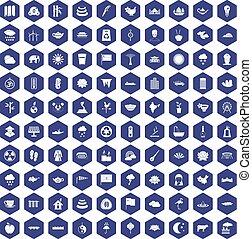 100 lotus icons hexagon purple