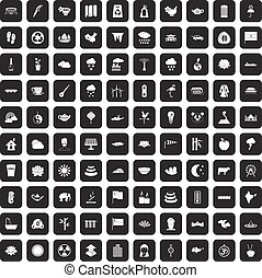 100 lotus icons set black - 100 lotus icons set in black...