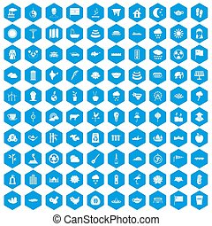 100 lotus icons set blue