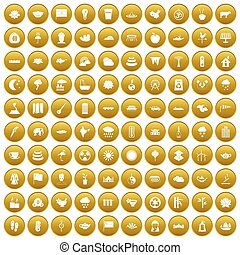 100 lotus icons set gold - 100 lotus icons set in gold...