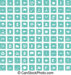 100 lotus icons set grunge blue - 100 lotus icons set in...