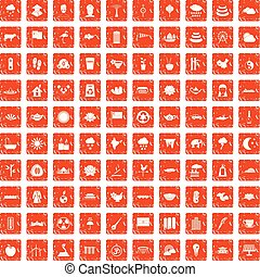 100 lotus icons set grunge orange