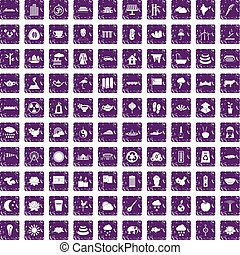 100 lotus icons set grunge purple - 100 lotus icons set in...