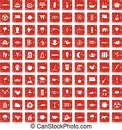 100 lotus icons set grunge red