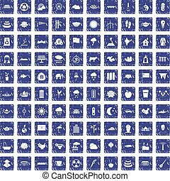 100 lotus icons set grunge sapphire - 100 lotus icons set in...