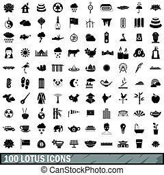100 lotus icons set, simple style - 100 lotus icons set in...