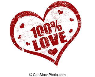 100% love stamp - One hundred percent love vector grunge...