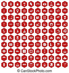 100 luggage icons hexagon red
