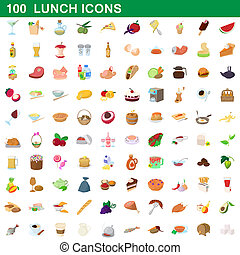 100 lunch icons set, cartoon style