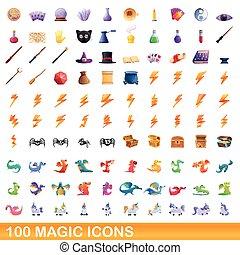 100 magic icons set, cartoon style