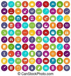 100 magnifier icons set color