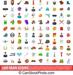 100 man icons set, cartoon style