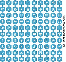 100 map icons set blue